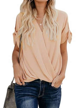 Ecrocoo Fashion Women Comfy Casual Summer Chiffon Office Short Sleeve Loose Fitting Shirt Apricot Charismatic Drape Blouse Top Apricot Small