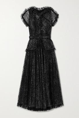Rodarte Belted Ruffled Metallic Flocked Tulle Midi Dress - Black