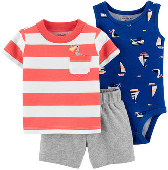 Carter's Boys' Infant Bodysuits Orange - Orange & White Stripe Pocket Crewneck Tee Set - Newborn & Infant