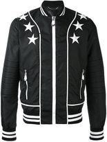 Philipp Plein star patch bomber jacket - men - Cotton/Polyamide/Spandex/Elastane - M