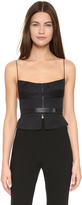 Narciso Rodriguez Seamed Linen Bustier Top