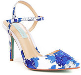 Betsey Johnson Anina Floral Print Satin Ankle Strap Pointed Toe Pumps