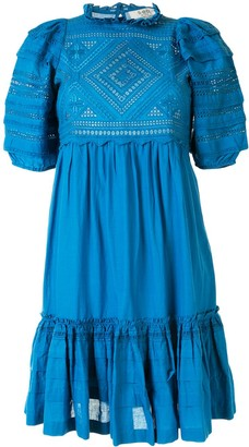 Sea Embroidered Short-Sleeve Dress