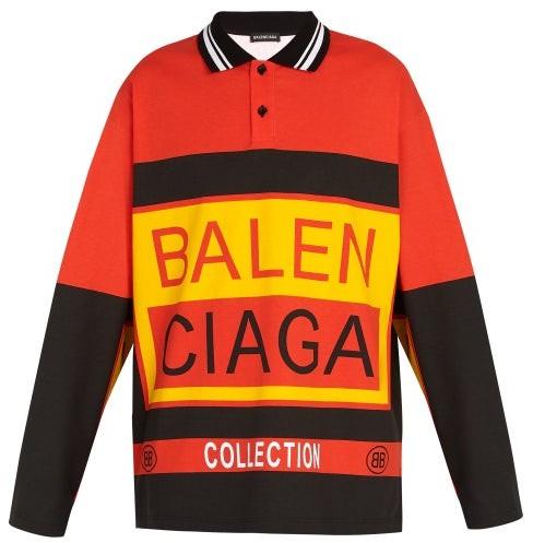 Balenciaga Long Sleeved Logo Print Cotton Polo Shirt - Mens - Orange
