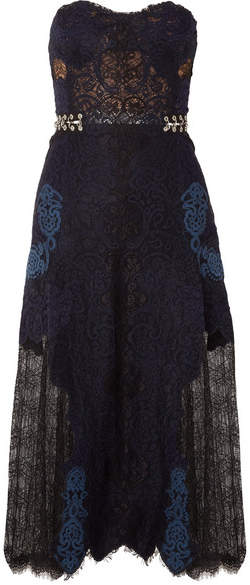 Jonathan Simkhai Corded And Leavers Lace Midi Dress - Midnight blue