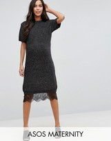Asos Sweater Dress with Lace Hem