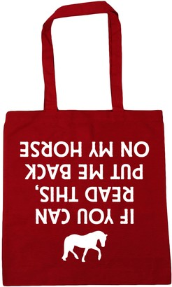 HippoWarehouse If You Can Read This Put Me Back On My Horse (Printed upside down) Tote Shopping Gym Beach Bag 42cm x38cm 10 litres
