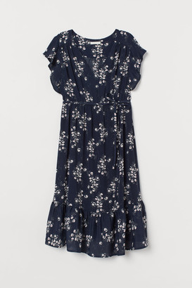 H&M MAMA Butterfly-sleeved Dress - Blue