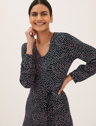 Marks and Spencer Crepe Printed V-Neck Shift Dress