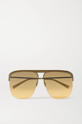 Givenchy Oversized D-frame Metal Sunglasses - Army green