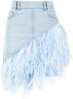 David Koma feather-trimmed denim skirt
