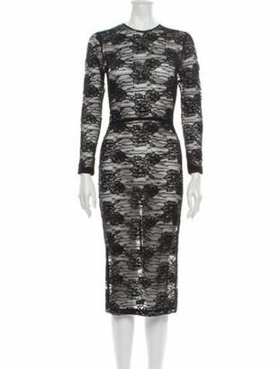 Dolce & Gabbana Lace Pattern Midi Length Dress Black
