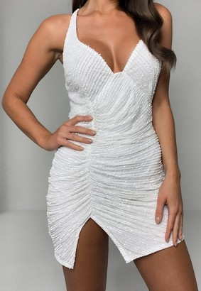 Missguided White Sequin Ruched Strappy Cami Mini Dress