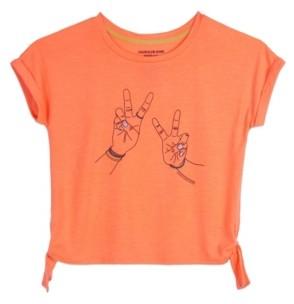 Calvin Klein Big Girls Peace Sign Side Tie Tee