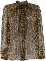 Saint Laurent sheer leopard print blouse