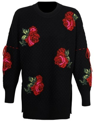 Versace Long sleeve sweater with flower embroidery