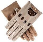 Black Men's Khaki and Cream Leather Driving Gloves