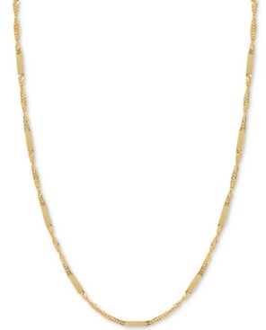 "Italian Gold 18"" Flat Bar Singapore Chain Necklace (1/3mm) in 14k Gold"