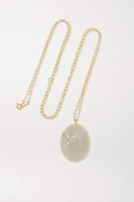Cvc Stones Crossed 18-karat Gold, Stone And Diamond Necklace - one size