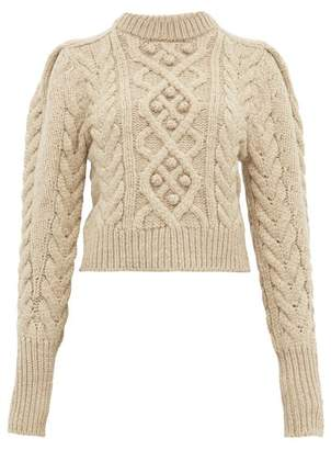 Isabel Marant Milford Cable-knit Wool Sweater - Womens - Beige