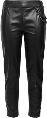 Moschino Chain-embellished Cropped Leather Slim-leg Pants
