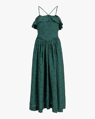 ALEXACHUNG Ditsy Jacquard Halter Dress