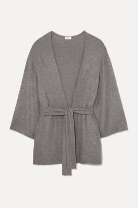 Leset LESET - Lori Belted Brushed Stretch-jersey Cardigan - Gray