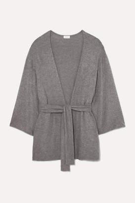 Leset Lori Belted Brushed Stretch-knit Cardigan