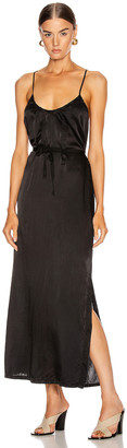 Raquel Allegra Pintuck Slip Dress in Black | FWRD