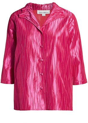 Caroline Rose, Plus Size Fiesta Celebration Jacquard Button-Front Shirt