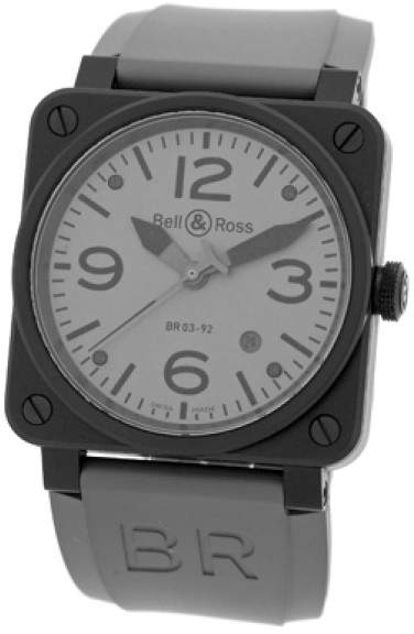 """Bell & Ross BR03-92"""" Commando Edition Stainless Steel & PVD Mens Strap Watch"""