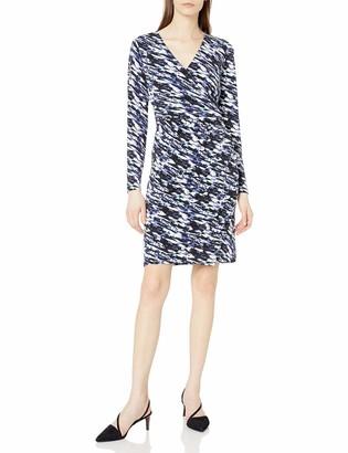 Lark & Ro Women's Long Sleeve Side Gathered Faux Wrap Dress