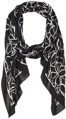 Kate Spade Scribble Floral Oblong Scarf (Black) Scarves