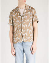 Sandro Palm-print regular-fit satin shirt