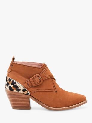 White Stuff Western Monk Cuban Heel Leopard Back Ankle Boots