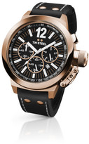 TW Steel Rose Gold Chronograph, Black Leather Strap 50mm