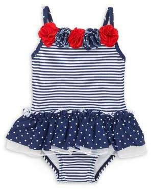 Little Me Baby Girl's Striped One-Piece Swimsuit