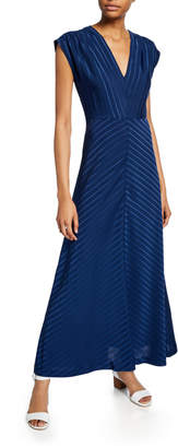 Club Monaco Ravonah Striped V-Neck Cap-Sleeve Long Dress