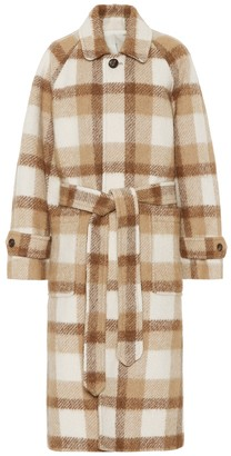Ami Checked wool-blend coat