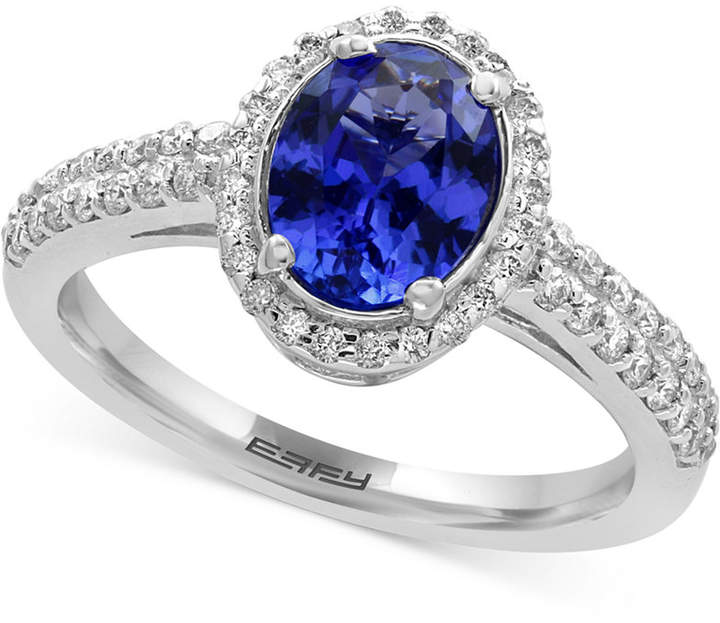 Effy Tanzanite Royale Tanzanite (1-1/8 ct. t.w.) and Diamond (1/3 ct. t.w.) Ring in 14k White Gold, Created for Macy's