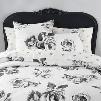 Pottery Barn Teen The Emily &amp Meritt Bed of Roses Comforter, King, Black/White