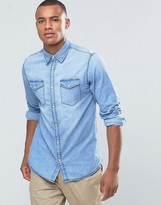Jack and Jones Originals Denim Shirt With Double Pockets and Press Stud Buttons