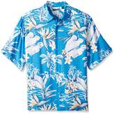 Cubavera Men's Big and Tall Short Sleeve All-Over Tropical Printed Woven Shirt