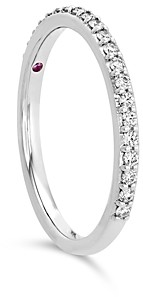 Hayley Paige for Hearts on Fire 18K White Gold Behati Say It Your Way Matching Band with Diamonds & Pink Sapphire
