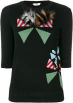 Fendi appliqué round-neck pullover