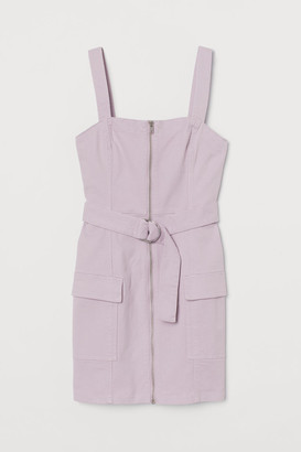 H&M Zip-front Overall Dress - Purple