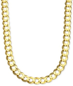 "Italian Gold 28"" Curb Link Chain Necklace in Solid 10k Gold"