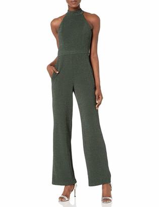 Donna Morgan Women's Glitter Knit Halter Neck Wide Leg Jumpsuit