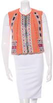 MSGM Tweed Embroidered-Beaded Vest
