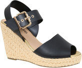 Yours Clothing Black High Wedge Espadrille Sandal In EEE Fit
